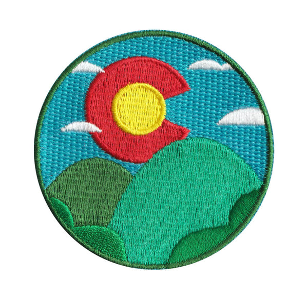 Colorado Sunrise & Hills - 100% Embroidery Sew or Iron-on Colorado Patch (2.5 inches wide)