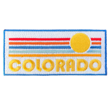 Colorado Patch - Vintage Style Sunrise 100% Embroidery Sew or Iron-on Colorado Patch (4in x 1.75in)