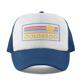 Colorado Toddler Trucker Hat (Ages 2-10) - Retro Sunrise Colorado Snapback Toddler Hat / Kid's Hat