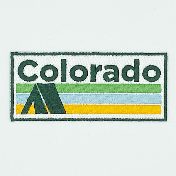 Colorado Patch - Vintage Style Camping 100% Embroidery Sew or Iron-on Colorado Patch (4in x 1.75in)