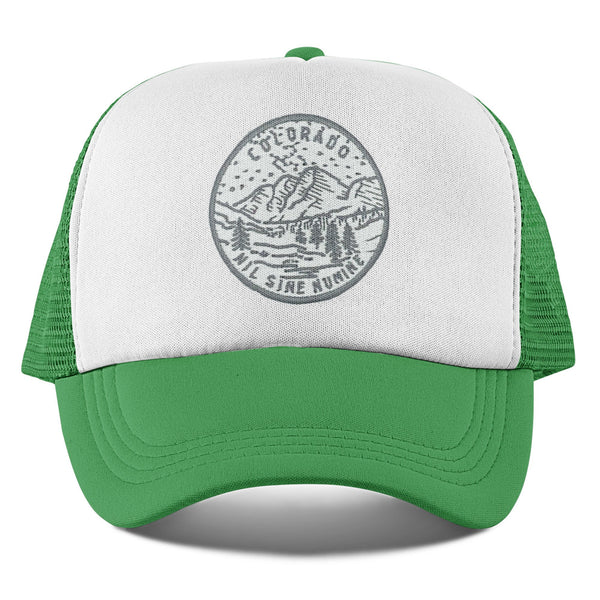 Colorado Kid's Trucker Hat (Ages 2-10) - Gray State Design Snapback Colorado Kids Hat / Toddler Hat