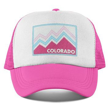 Colorado Toddler Trucker Hat (Ages 2-10) - Pink & Blue Mountain Colorado Snapback Youth Hat  / Kid's Hat