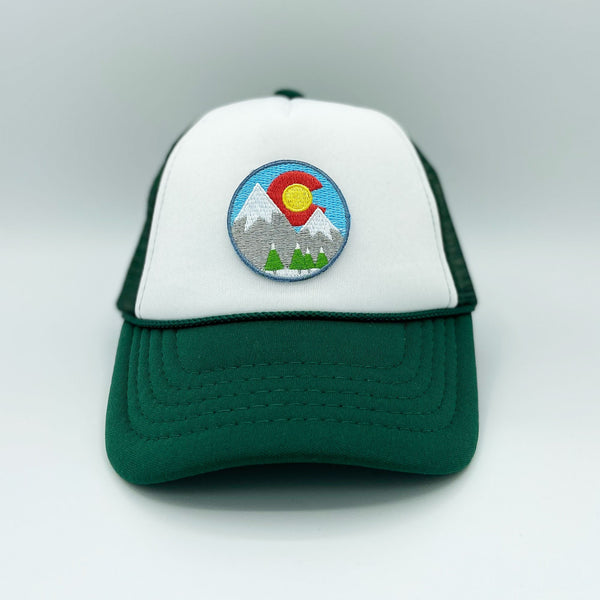 Colorado Infant Trucker Hat (Ages 6m - 18m) - Snowy Mountains Snapback Colorado Baby Hat