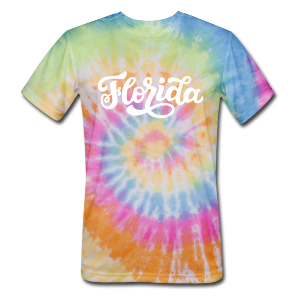 Florida Tie-Dye T-Shirt - Hand Lettered Florida Unsex T Shirt - rainbow