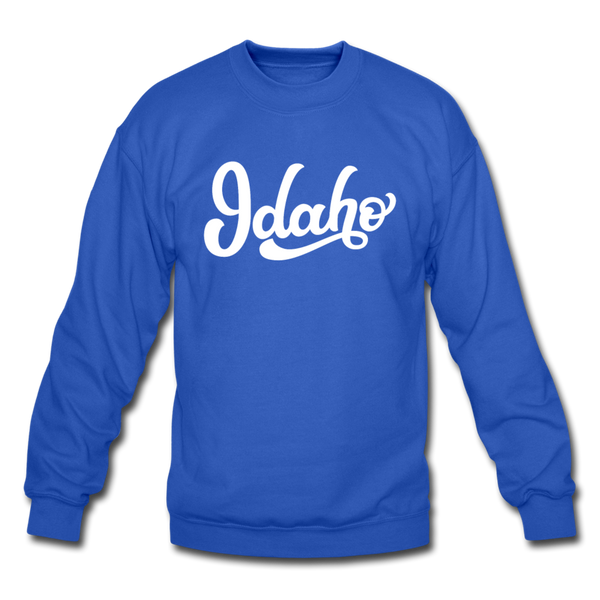 Idaho Sweatshirt - Hand Lettered Idaho Crewneck Sweatshirt - royal blue