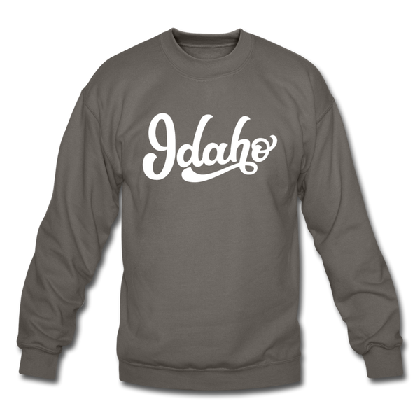 Idaho Sweatshirt - Hand Lettered Idaho Crewneck Sweatshirt - asphalt gray