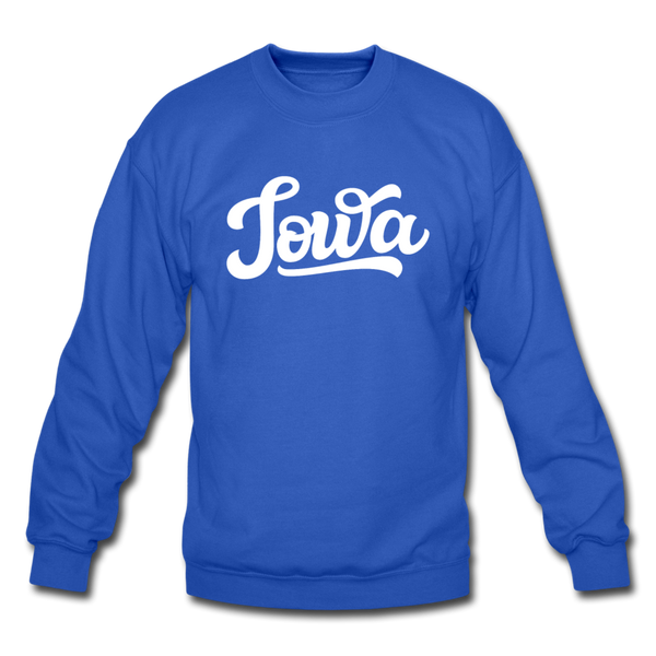 Iowa Sweatshirt - Hand Lettered Iowa Crewneck Sweatshirt - royal blue