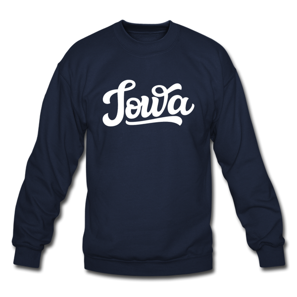 Iowa Sweatshirt - Hand Lettered Iowa Crewneck Sweatshirt - navy