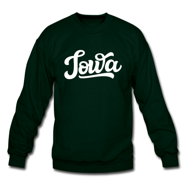 Iowa Sweatshirt - Hand Lettered Iowa Crewneck Sweatshirt - forest green