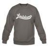 Louisiana Sweatshirt - Hand Lettered Louisiana Crewneck Sweatshirt - asphalt gray
