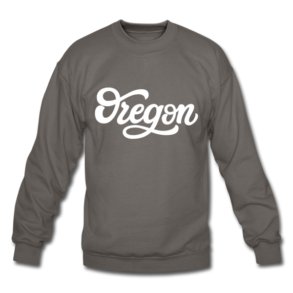 Oregon Sweatshirt - Hand Lettered Oregon Crewneck Sweatshirt - asphalt gray