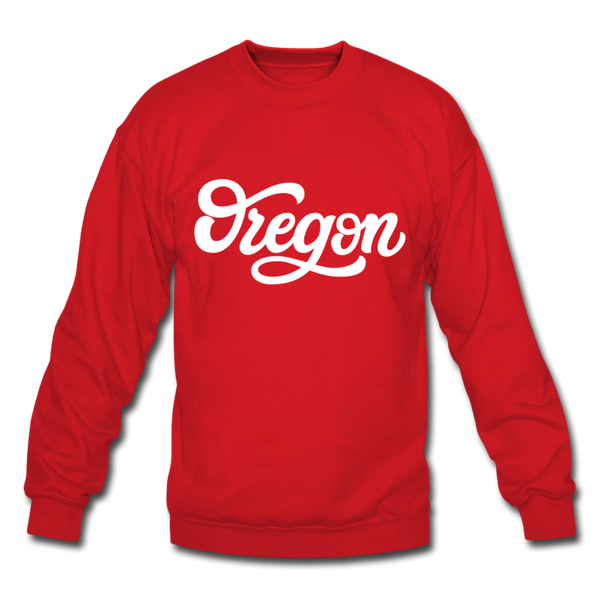 Oregon Sweatshirt - Hand Lettered Oregon Crewneck Sweatshirt - red