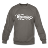 Wyoming Sweatshirt - Hand Lettered Wyoming Crewneck Sweatshirt - asphalt gray