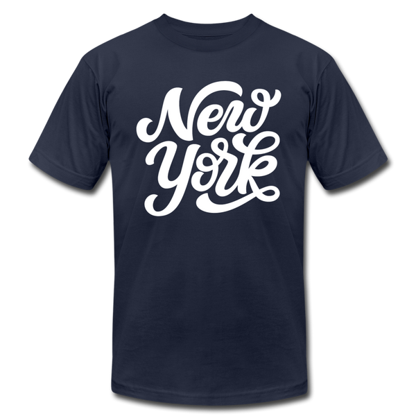 New York T-Shirt - Hand Lettered Unisex New York T Shirt - navy