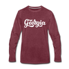 Georgia Long Sleeve T-Shirt - Hand Lettered Unisex Georgia Long Sleeve Shirt - heather burgundy