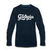 Georgia Long Sleeve T-Shirt - Hand Lettered Unisex Georgia Long Sleeve Shirt - deep navy