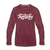 Kentucky Long Sleeve T-Shirt - Hand Lettered Unisex Kentucky Long Sleeve Shirt - heather burgundy