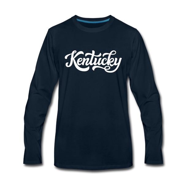 Kentucky Long Sleeve T-Shirt - Hand Lettered Unisex Kentucky Long Sleeve Shirt - deep navy
