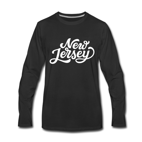 New Jersey Long Sleeve T-Shirt - Hand Lettered Unisex New Jersey Long Sleeve Shirt - black