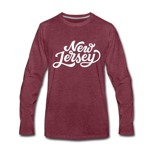 New Jersey Long Sleeve T-Shirt - Hand Lettered Unisex New Jersey Long Sleeve Shirt - heather burgundy