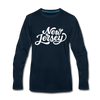 New Jersey Long Sleeve T-Shirt - Hand Lettered Unisex New Jersey Long Sleeve Shirt - deep navy