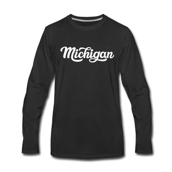 Michigan Long Sleeve T-Shirt - Hand Lettered Unisex Michigan Long Sleeve Shirt - black