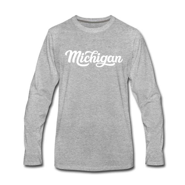 Michigan Long Sleeve T-Shirt - Hand Lettered Unisex Michigan Long Sleeve Shirt - heather gray