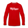 Michigan Long Sleeve T-Shirt - Hand Lettered Unisex Michigan Long Sleeve Shirt - red