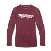 Michigan Long Sleeve T-Shirt - Hand Lettered Unisex Michigan Long Sleeve Shirt - heather burgundy