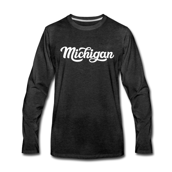 Michigan Long Sleeve T-Shirt - Hand Lettered Unisex Michigan Long Sleeve Shirt - charcoal gray