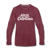 North Carolina Long Sleeve T-Shirt - Hand Lettered Unisex North Carolina Long Sleeve Shirt - heather burgundy