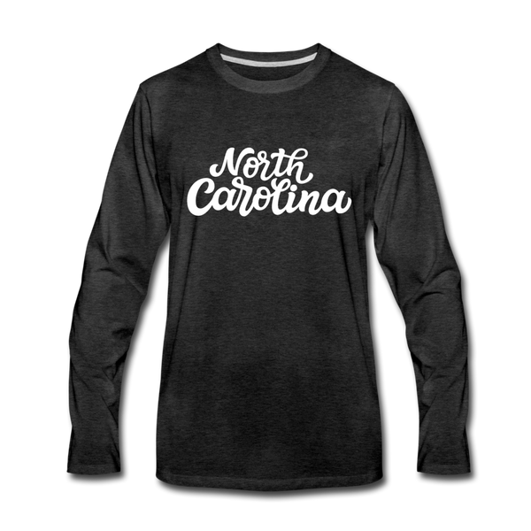 North Carolina Long Sleeve T-Shirt - Hand Lettered Unisex North Carolina Long Sleeve Shirt - charcoal gray