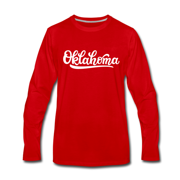 Oklahoma Long Sleeve T-Shirt - Hand Lettered Unisex Oklahoma Long Sleeve Shirt - red