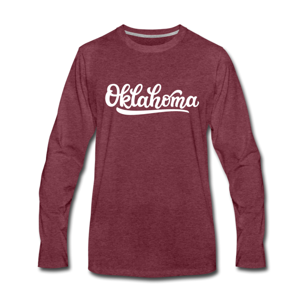 Oklahoma Long Sleeve T-Shirt - Hand Lettered Unisex Oklahoma Long Sleeve Shirt - heather burgundy