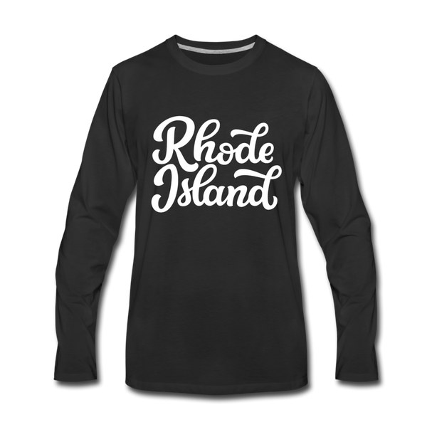 Rhode Island Long Sleeve T-Shirt - Hand Lettered Unisex Rhode Island Long Sleeve Shirt - black