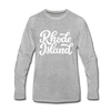 Rhode Island Long Sleeve T-Shirt - Hand Lettered Unisex Rhode Island Long Sleeve Shirt - heather gray