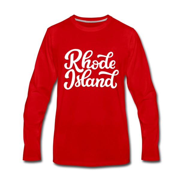 Rhode Island Long Sleeve T-Shirt - Hand Lettered Unisex Rhode Island Long Sleeve Shirt - red