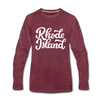 Rhode Island Long Sleeve T-Shirt - Hand Lettered Unisex Rhode Island Long Sleeve Shirt - heather burgundy