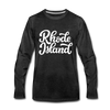 Rhode Island Long Sleeve T-Shirt - Hand Lettered Unisex Rhode Island Long Sleeve Shirt - charcoal gray
