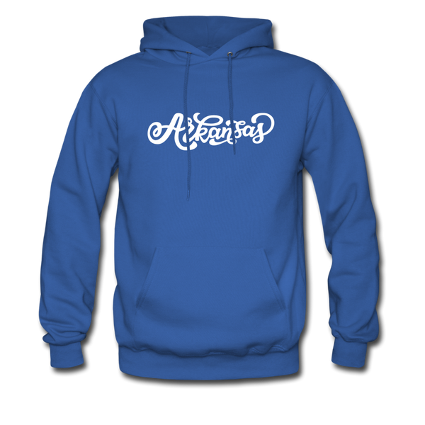 Arkansas Hoodie - Hand Lettered Unisex Arkansas Hooded Sweatshirt - royal blue