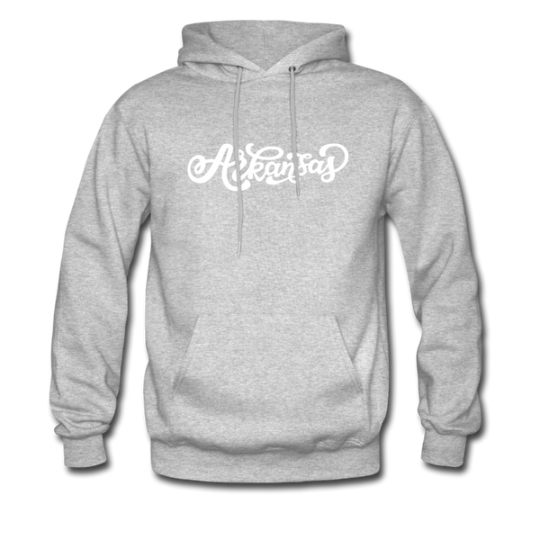 Arkansas Hoodie - Hand Lettered Unisex Arkansas Hooded Sweatshirt - heather gray