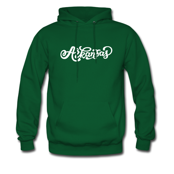 Arkansas Hoodie - Hand Lettered Unisex Arkansas Hooded Sweatshirt - forest green