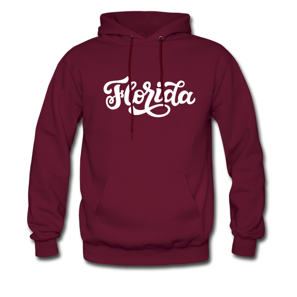 Florida Hoodie - Hand Lettered Unisex Florida Hooded Sweatshirt - burgundy