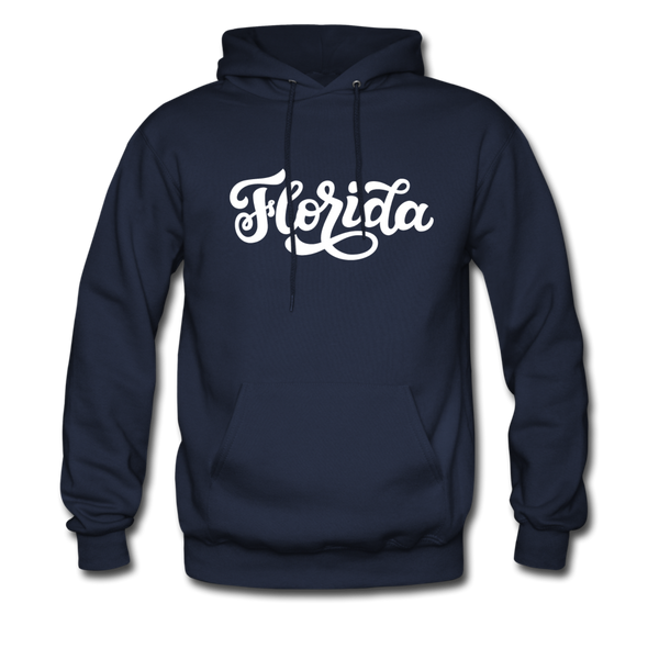 Florida Hoodie - Hand Lettered Unisex Florida Hooded Sweatshirt - navy