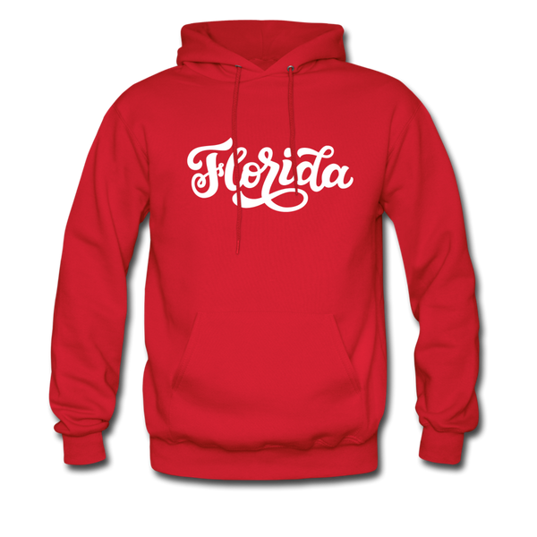 Florida Hoodie - Hand Lettered Unisex Florida Hooded Sweatshirt - red