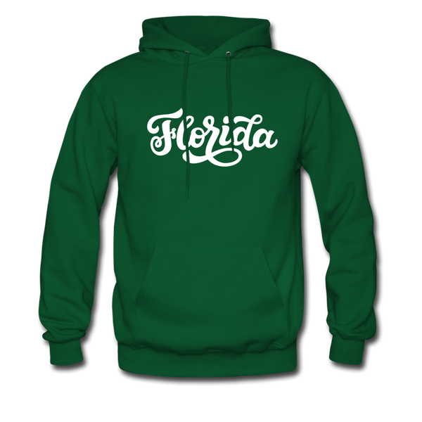 Florida Hoodie - Hand Lettered Unisex Florida Hooded Sweatshirt - forest green