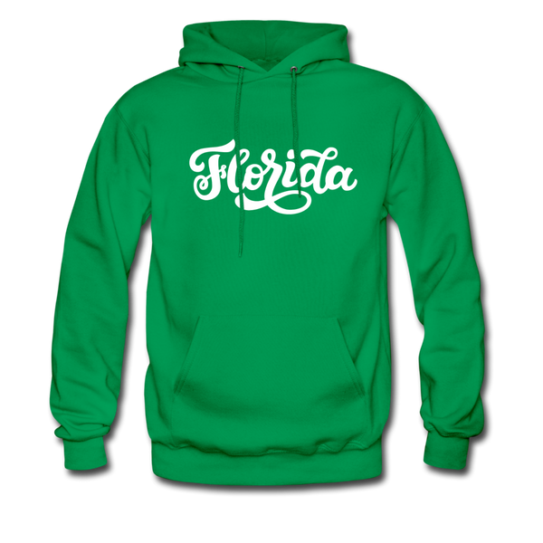 Florida Hoodie - Hand Lettered Unisex Florida Hooded Sweatshirt - kelly green