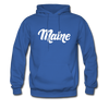 Maine Hoodie - Hand Lettered Unisex Maine Hooded Sweatshirt - royal blue