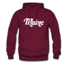 Maine Hoodie - Hand Lettered Unisex Maine Hooded Sweatshirt - burgundy