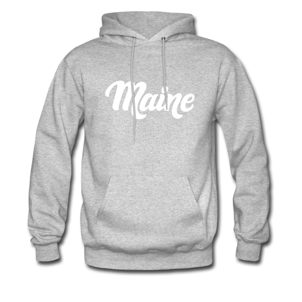 Maine Hoodie - Hand Lettered Unisex Maine Hooded Sweatshirt - heather gray
